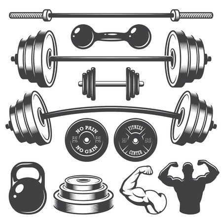 Ilustración de Set of vintage fitness designed elements. Monochrome style - Imagen libre de derechos