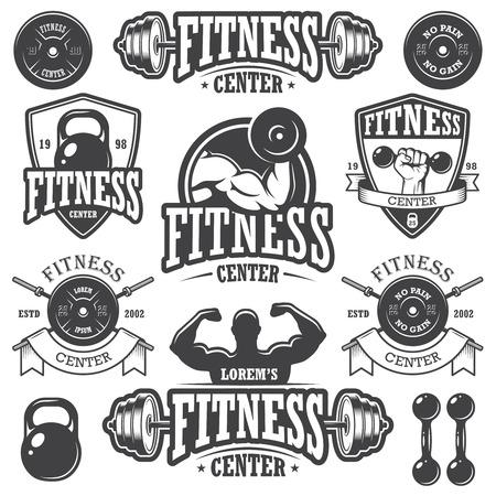 Ilustración de Set of monochrome fitness emblems - Imagen libre de derechos