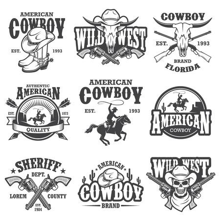 Illustration pour Set of vintage cowboy emblems, labels, dadges, and designed elements. Wild West theme. Monochrome style - image libre de droit