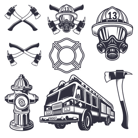Illustration for Set of designed firefighter elements. Monochrome style - Royalty Free Image