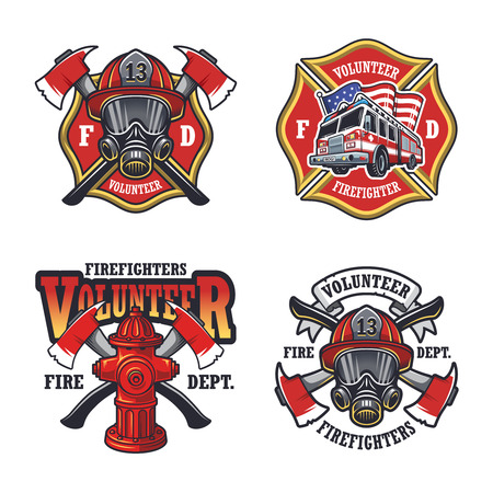 Illustrazione per Set of firefighter emblems labels badges and on light background. - Immagini Royalty Free
