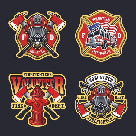 Illustration for Set of firefighter emblems labels badges on dark background. - Royalty Free Image
