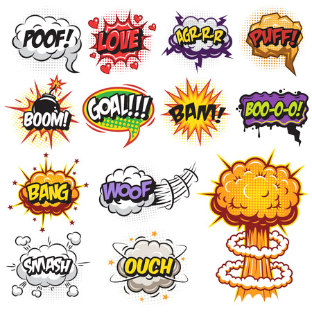 Illustration for Set of comics speach and explosion bubbles. Colored with text - Royalty Free Image