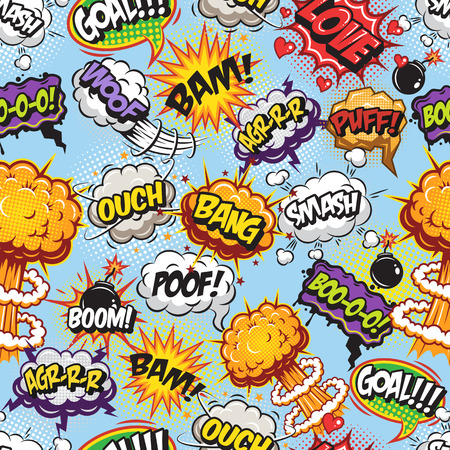 Illustration pour Comics pattern with speech and explosion bubbles on blue background. - image libre de droit