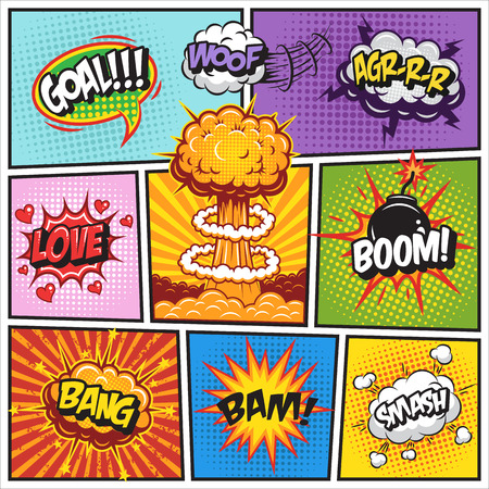 Illustration for Set of comics speach and explosion bubbles on a comics book background. Colored with text - Royalty Free Image