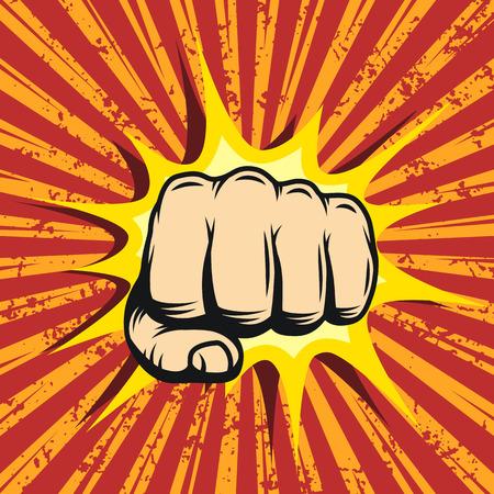 Illustration pour Comics poster with fist and explosion bubble on comic background. - image libre de droit