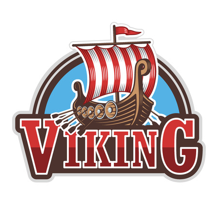 Illustration pour Viking ship sport logo. Colored isolated on white background - image libre de droit