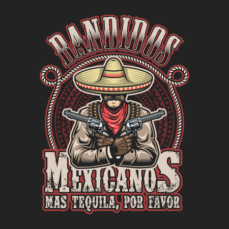 Illustration for Vector illustrtion of mexican bandit print template. Man with a guns in hands in sombrero with text. - Royalty Free Image