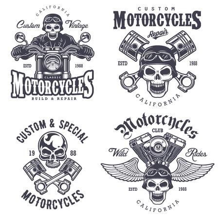 Illustration pour Set of vintage motorcycle emblems, labels, badges, logos and design elements. Monochrome style. - image libre de droit