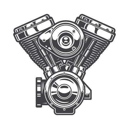 Illustration pour Illustration of motorcycle engine. Monochrome style - image libre de droit