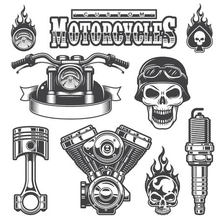 Illustration pour Set of vintage monochrome motorcycle elements, isolated on white background. - image libre de droit