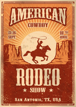 Illustration pour American cowboy rodeo poster with typography and vintage paper texture - image libre de droit