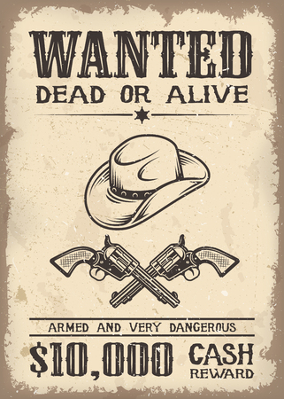 Illustration pour Vitage wild west wanted poster with old paper texture backgroung - image libre de droit