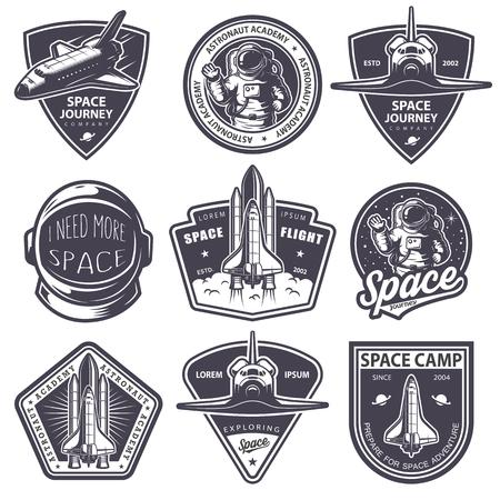 Ilustración de Set of vintage space and astronaut badges, emblems, icons and labels. Monochrome style - Imagen libre de derechos