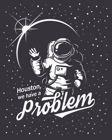 Ilustración de T-shirt design print. Space theme. Monochrome style - Imagen libre de derechos