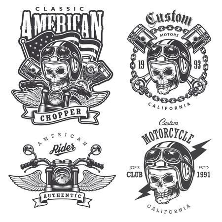 Illustration pour Set of Vintage motorcycle  t-shirt prints, emblems, labels, badges and logos. Monochrome style. Isolated on white background - image libre de droit