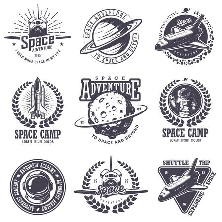 Illustration pour Set of vintage space and astronaut badges, emblems, and labels. Monochrome style - image libre de droit