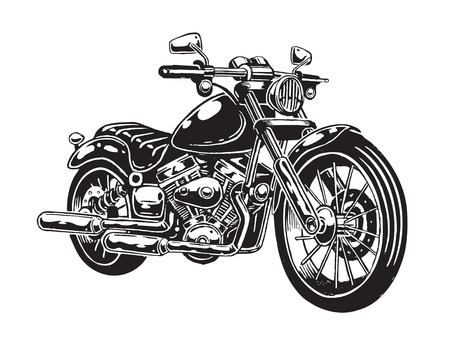 Illustration pour Vector illustration of hand drawn motorcycle isolated on white background. Monochrome style. - image libre de droit