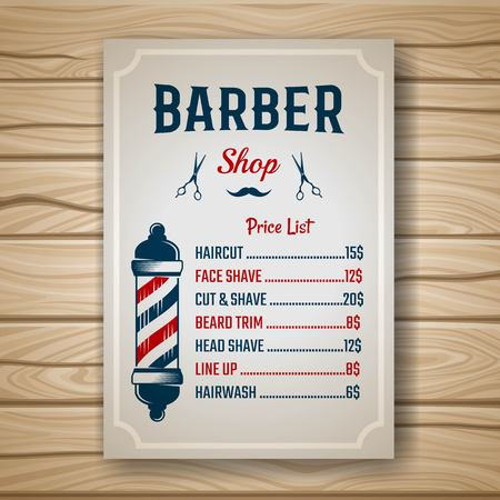 Illustration pour Barber shop colored price or brochure list with prices at the hairstyles and haircuts on table vector illustration - image libre de droit