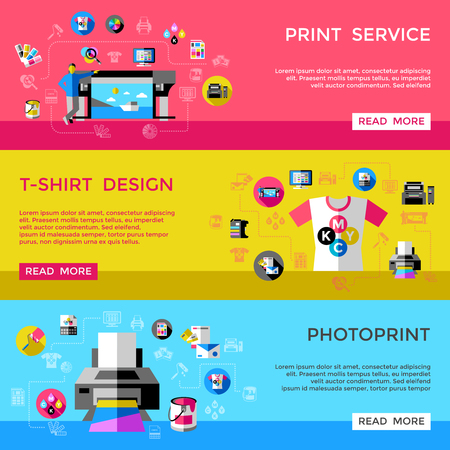 Illustration for Print Service Horizontal Banners - Royalty Free Image