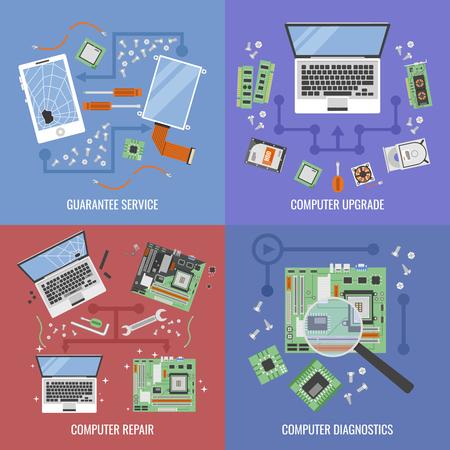 Illustration pour Computer service icon set with descriptions of guarantee service computer upgrade computer repair and diagnostic vector illustration - image libre de droit