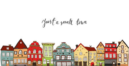 Illustration pour Small town design with calligraphic title painted houses of different style on white background vector illustration - image libre de droit