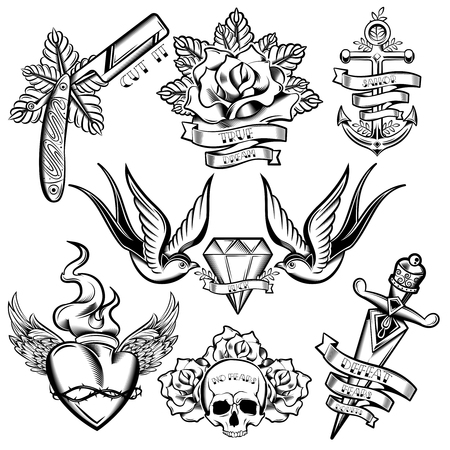 Ilustración de Tattoo monochrome elements set with anchor swallows and diamond floral decoration winged heart ribbons isolated vector illustration - Imagen libre de derechos
