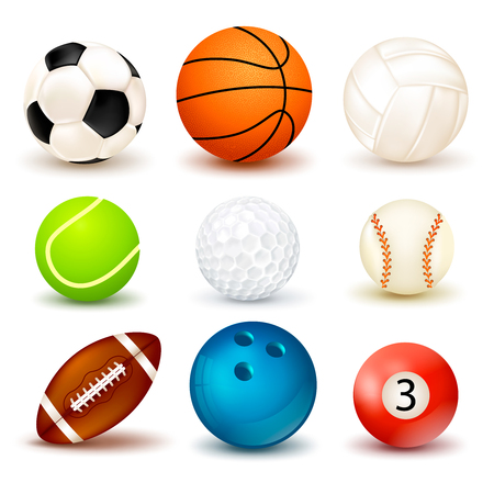 3d shape ball icon set with shadows isolated on the theme of various sports games illustration
