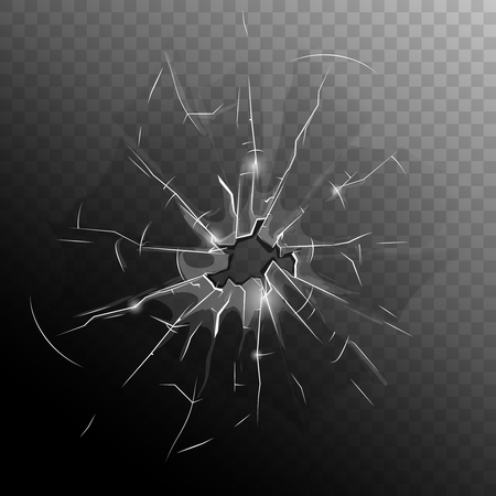 Ilustración de Broken window pane with hole cracks and scratches on half dark transparent background illustration - Imagen libre de derechos