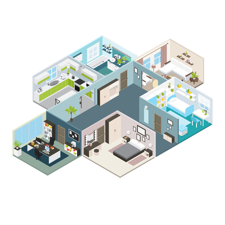 Illustration pour Isometric house interior view layout of residential premises with baffles and walls illustration - image libre de droit