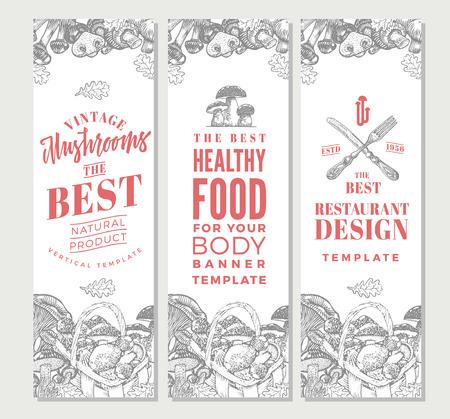 Illustration pour Sketch Organic Food Vertical Banners - image libre de droit