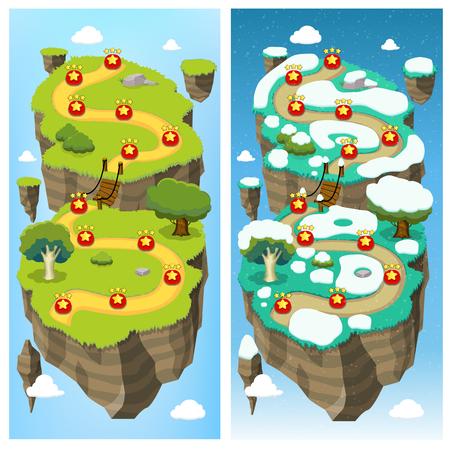 Illustration pour Mobile Game Level Map Concept - image libre de droit