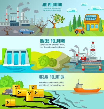 Illustration pour Ecological problems horizontal banners with chemical radioactive industrial garbage toxic environmental pollution vector illustration - image libre de droit