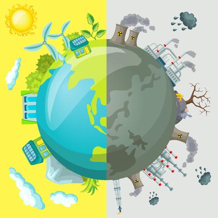 Illustration pour Ecology Cartoon Comparative Concept - image libre de droit