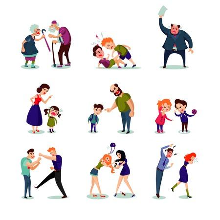 Ilustración de Angry Male And Female People Set - Imagen libre de derechos