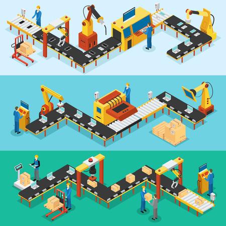 Ilustración de Isometric Industrial Factory Horizontal Banners - Imagen libre de derechos
