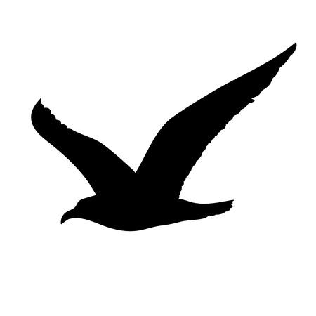 Illustration pour Flying Seagull Silhouette Concept - image libre de droit