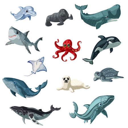 Illustration for Cartoon colorful underwater animals set with creatures living in sea and ocean isolated vector illustration - Royalty Free Image