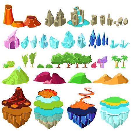 Ilustración de Colorful Game Islands Landscape Elements Set - Imagen libre de derechos