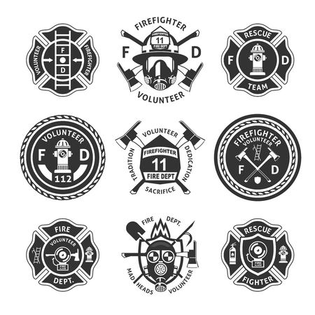 Illustration for Vintage monochrome firefighting labels set with inscriptions. - Royalty Free Image