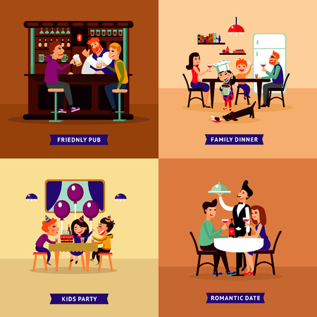 Ilustración de Colorful Eating People Concept vector illustration. - Imagen libre de derechos