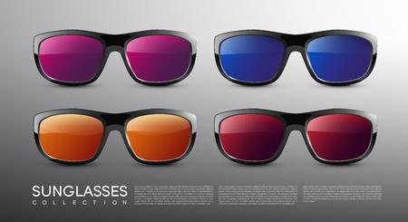 Illustration pour Stylish Modern Colored Sunglasses Set - image libre de droit