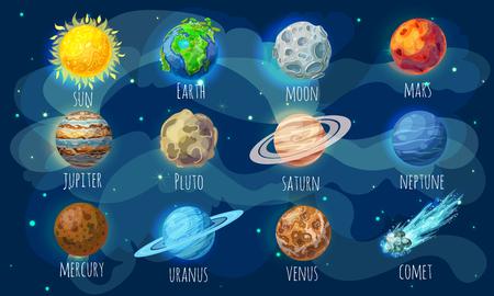 Illustration pour Colorful Space Elements Set - image libre de droit