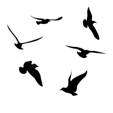 Illustration pour Black Seagulls Silhouettes Collection - image libre de droit