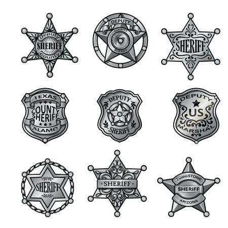 Illustration for Silver Sheriff Badges Collection. - Royalty Free Image