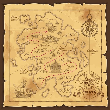Illustration for Pirate Treasure Map Hand Drawn Illustration - Royalty Free Image
