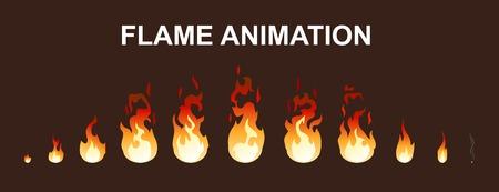 Ilustración de Light fire flames animation collection. - Imagen libre de derechos