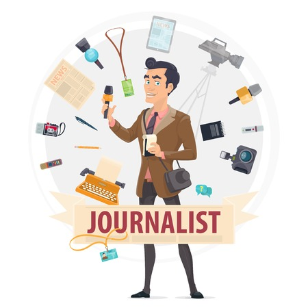 Illustration for Colorful Reporter Round Concept - Royalty Free Image