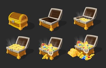 Illustration for Isometric Treasure Chests Animation Set - Royalty Free Image