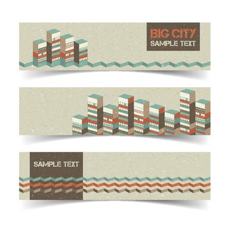 Ilustración de Horizontal Architectural Banners Set - Imagen libre de derechos